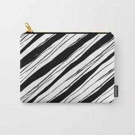 Black on white rough diagonal stripes pattern Carry-All Pouch