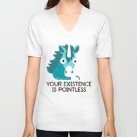 mythology V-neck T-shirts featuring Neigh Sayer by David Olenick