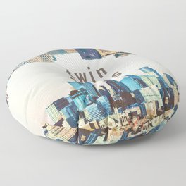 Twin Cities Minneapolis and Saint Paul Minnesota Skylines Floor Pillow