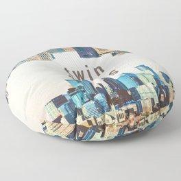 Twin Cities | Minneapolis and Saint Paul Minnesota Skylines | City Collage Floor Pillow
