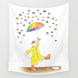 a cat and the umbrella Wall Tapestry