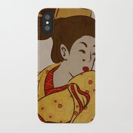 Japanese Prints Inspired Painting of a Curious Woman iPhone Case