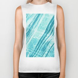 Abstract Marble - Teal Turquoise Biker Tank