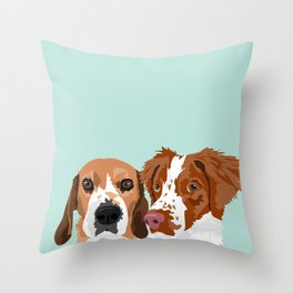 Beagle and Brittany Throw Pillow