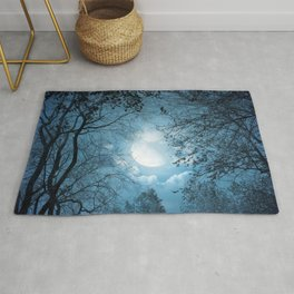 Lovely Spectacular Glowing Full Moon Shining Through Tree Crown HD Rug