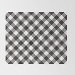 Gingham - Black Throw Blanket