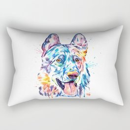German Shepherd Watercolor Pet Portrait Painting Rectangular Pillow