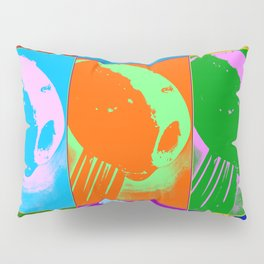 Poster with grilled olive with oil drop on the fork in pop art style Pillow Sham