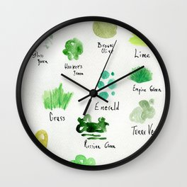 Greens -a watercolor collection of shades Wall Clock