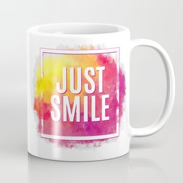 Just Smile motivation square watercolor stroke poster. Text lettering of an inspirational saying. Qu Coffee Mug