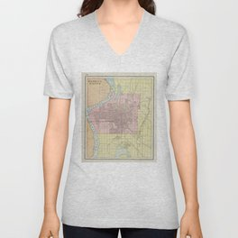 Vintage Map of Council Bluffs IA (1901) Unisex V-Neck