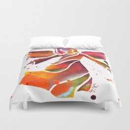 Colorful Angel Acrylic Abstract Painting by Saribelle Rodriguez Duvet Cover