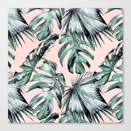 Island Love Coral Pink + Green Canvas Print