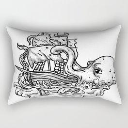 Kraken Attacking Ship Tattoo Grayscale Rectangular Pillow