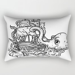 Kraken Attacking Ship Tattoo Grayscale Rectangular Pillow