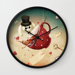 fantasy with red cup of tea and rabbit Wall Clock