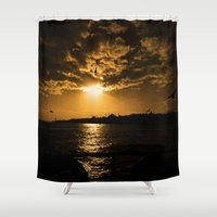 istanbul Shower Curtains featuring İstanbul Sunset  by kartalpaf
