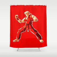street fighter Shower Curtains featuring Street Fighter II - Ken by Carlo Spaziani