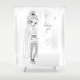 Fashion Gal Line Art Shower Curtain