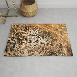 Rustic Country Western Texas Longhorn Cowhide Rodeo Animal Print Rug