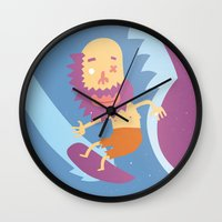 surf Wall Clocks featuring Surf! by DooDoo