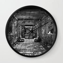 Garden Trellis- Black and White Wall Clock