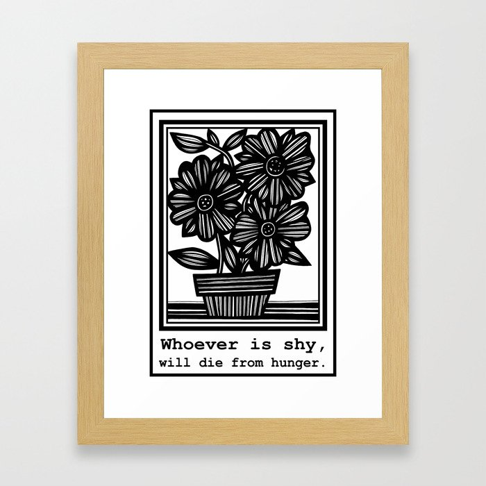 Boggio Flowers Black and White Framed Art Print