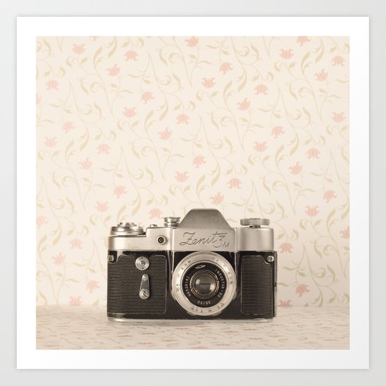 Zenit 3 Camera Film on Pink Flower Background Pearls on Book ( Vintage Still Life Photography)  Art Print
