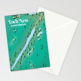 Loch Ness Scottish Highlands travel map Stationery Cards