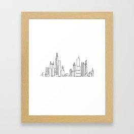 Chicago skyline in one draw Framed Art Print