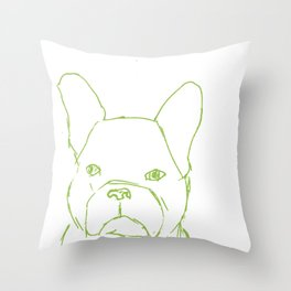 Sketched Frenchie (Green on White) Throw Pillow