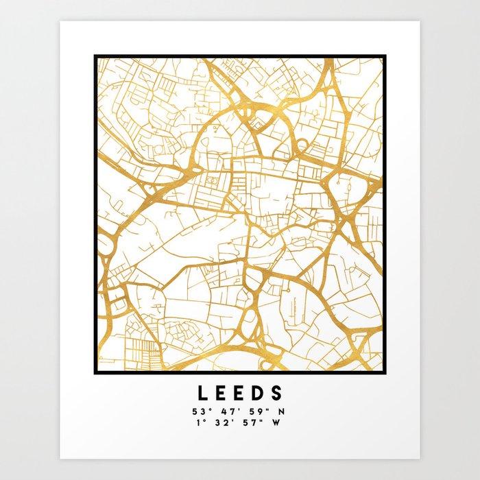 Map Of Just England.Leeds England City Street Map Art Art Print By Deificusart