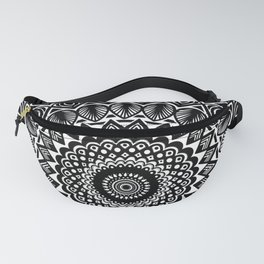 Detailed Black and White Mandala Fanny Pack