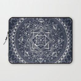White Flower Mandala on Dark Blue Laptop Sleeve
