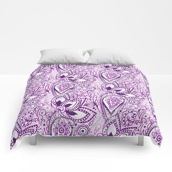 Boho Purple Paisley Doodle Comforters