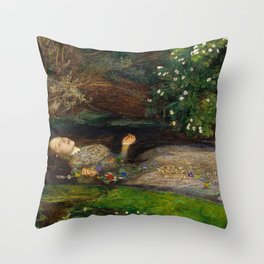 Ophelia from Hamlet Oil Painting by Sir John Everett Millais Throw Pillow