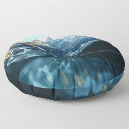 River in the Mountains Floor Pillow