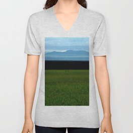 Parallel Horizontal Ink Sky Mountain and Field Unisex V-Neck