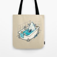 bath Tote Bags featuring BATH TIME by Letter_q