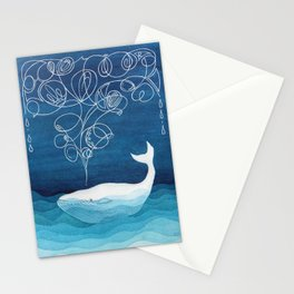 Happy whale, animals sea creature, teal blue watercolor Stationery Cards