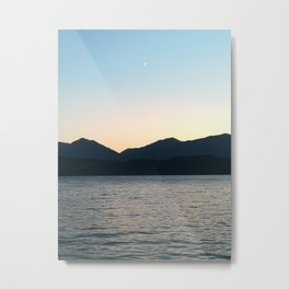 Sunset and Crescent Moon over the Water Metal Print