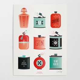 Flask Collection – Red & Turquoise Palette Poster