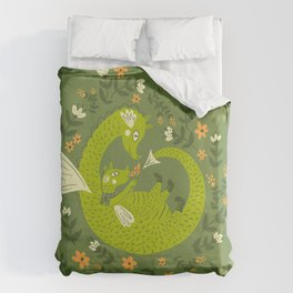 Mama and Baby Dragon Duvet Cover
