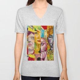 Female Faces Portrait Collage Design 1 Unisex V-Neck