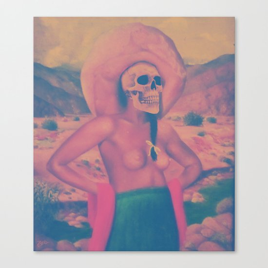 Mujer con sombrero. Canvas Print