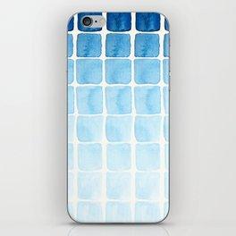 Watercolour Blue Seaside Squares Pattern iPhone Skin