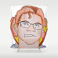 superman Shower Curtains featuring Superman by ErikMcManusInc.