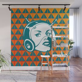 Faces: SciFi lady on a teal and orange pattern background Wall Mural