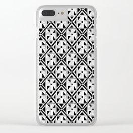 symetric tartan and gingham 23 -vichy, gingham,strip,square,geometric, sober,tartan Clear iPhone Case