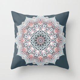 Expansion - boho mandala in soft salmon pink & blue Throw Pillow